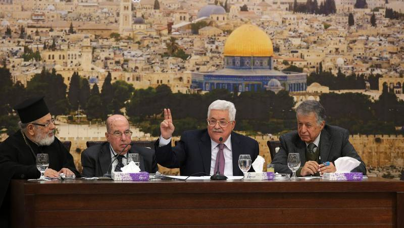 epa06438637 Palestinian President Mahmoud Abbas (3-L), attends a meeting of the Palestine Liberation Organization (PLO) Central Council, at his presidency compound in the West Bank town of Ramallah, 14 January 2018. Other officials are unidentified. The Central Council of the PLO started on 14 January its 28th meeting and called to urgently discuss the US decision to recognize Jerusalem as Israel's capital.  EPA/ALAA BADARNEH