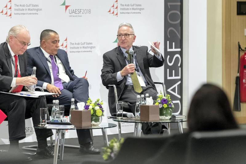 ABU DHABI, UNITED ARAB EMIRATES. 09 DECEMBER 2018. UAE Security Forum 2018 at NUY Abu Dhabi. LtoR: Timothy A Lenderking, Deputy Assistant Secretary for Arabian Gulf Affairs, Bureau of Near Eastern Affairs US Department of State, Mohammed Abulahoum, Chairman Justice and Building Party Yemen, Ambassador Stepehen A Seche, Executive Vice President AGSIW.  Session One; Building A Lasting Peace. (Photo: Antonie Robertson/The National) Journalist: Sofia Barbarani. Section: National.
