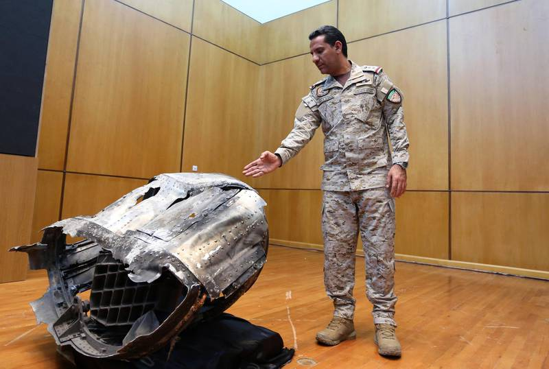 Saudi-led coalition spokesman, Colonel Turki al-Malki, displays the debris of a ballistic missile which he says was launched by Yemen's Houthi group towards the capital Riyadh, during a news conference in Riyadh, Saudi Arabia March 29, 2020. REUTERS/Ahmed Yosri