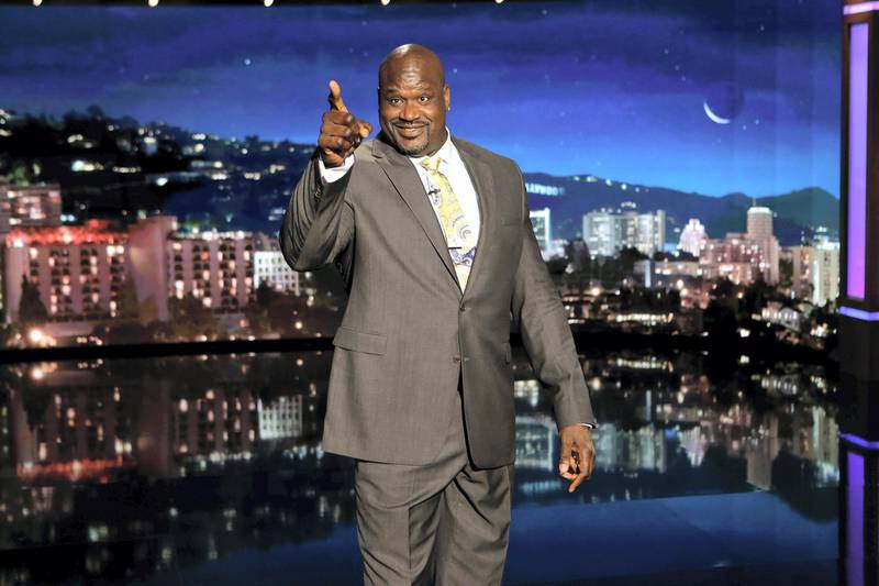 """JIMMY KIMMEL LIVE - ABC's """"Jimmy Kimmel Live"""" features a week of guest hosts filling in for Jimmy, starting Monday, October 30. The guest host for Monday, October 30 was Shaquille O'Neal with guests Mila Kunis (""""A Bad Moms Christmas""""), Aisha Tyler (""""Criminal Minds"""") and musical guest Ty Dolla $ign featuring YG. (Randy Holmes via Getty Images) SHAQUILLE O'NEAL"""