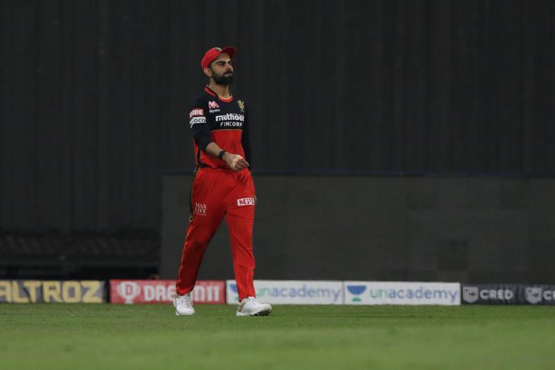 Virat Kohli of captain of Royal Challengers Bangalore after lost the eliminator match of season 13 of the Dream 11 Indian Premier League (IPL) between the Sunrisers Hyderabad and the Royal Challengers Bangalore at the Sheikh Zayed Stadium, Abu Dhabi  in the United Arab Emirates on the 6th November 2020.  Photo by: Pankaj Nangia  / Sportzpics for BCCI