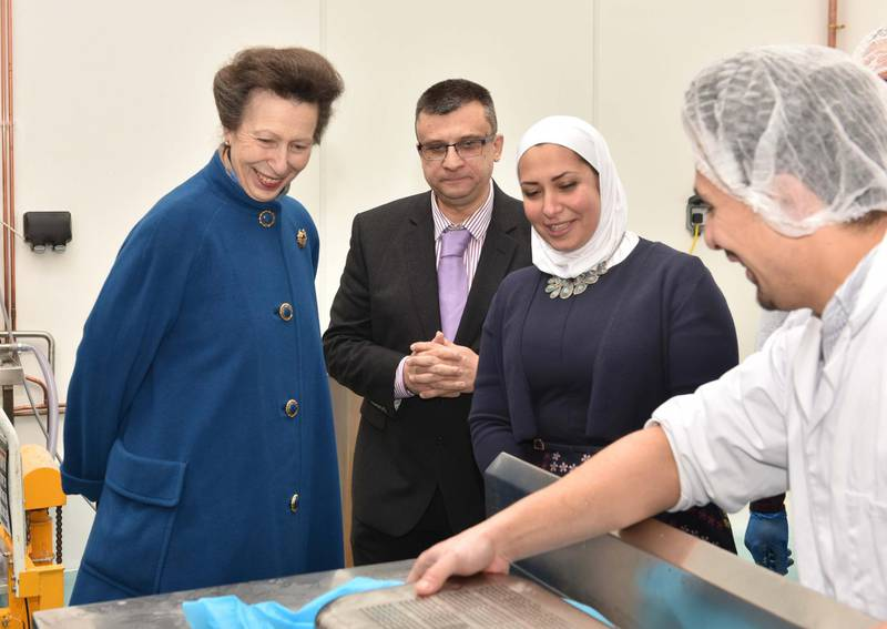 The Princess Royal visited the Yorkshire Dama Cheese company, an award-winning dairy company that was set up by Razan Alsous, a microbiologist who left Syria in 2012. Photo by Robert Ducker