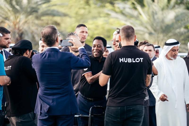 15.04.18  Match of Friendship - Pele XI vs. a Marcello Lippi XI. Pele being greeting on the field. Dubai Opera Garden, Dubai Opera, downtown Anna Nielsen For The National