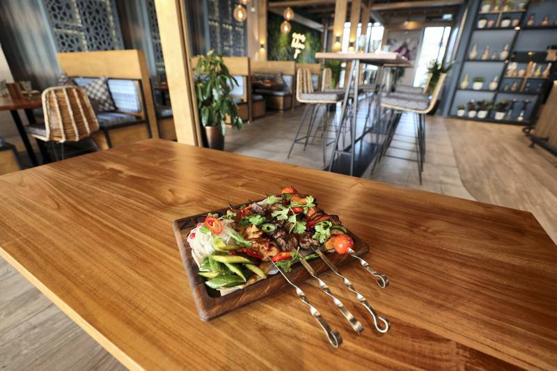 Dubai, United Arab Emirates - Reporter: Sophie Prideaux. Lifestyle. Food. Restaurant feature. Eat your way around The Pointe, The Palm. The Zor mixed grill platter from Zor. Monday, January 18th, 2021. Dubai. Chris Whiteoak / The National