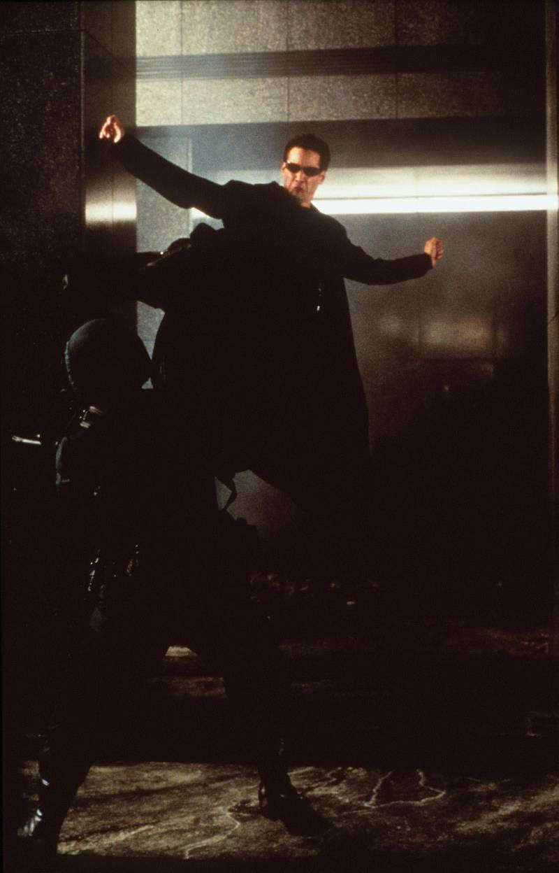 """374770 03: 1999 Keanu Reeves stars in """"The Matrix."""" 1999 Warner Bros. and Village Roadshow Film. Getty Images"""