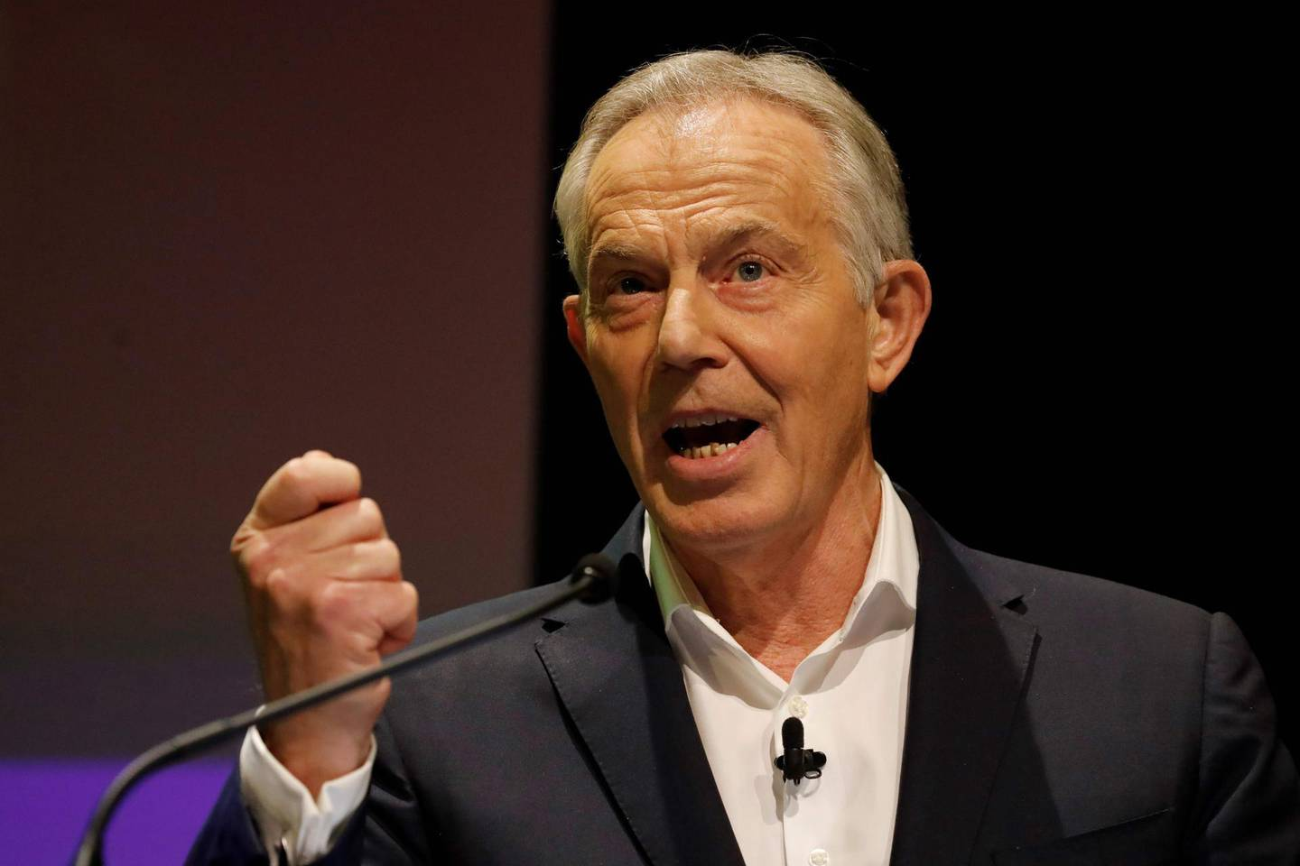 """(FILES) In this file photo taken on December 06, 2019 Britain's former prime minister Tony Blair speaks during the 'Stop The Brexit Landslide', organised by the Vote for a Final Say campaign and For our Future's Sake, at London's Mermaid Theatre in London. Former British prime minister Tony Blair urged his Labour party on December 18, 2019, to abandon """"crazy revolutionary socialism"""" as it seeks a new leader after its worst election defeat since the 1930s. Britain's shellshocked left entered a period of soul-searching and mourning in the wake of last Thursday's drubbing at the polls.  / AFP / Tolga AKMEN"""
