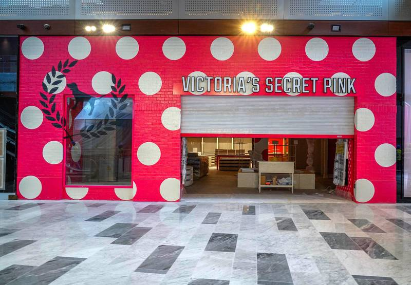 Abu Dhabi, United Arab Emirates, July 25, 2019. Exclusive tour of new expansion of Galleria, Abu Dhabi. --  Store front of Victoria's Secret Pimk.Victor Besa/The NationalSection:  IF   Reporter:  Panna Munyal