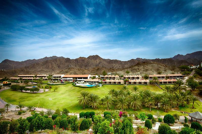 JA Hatta Fort is surrounded by mountains and greenery. JA Resorts & Hotels