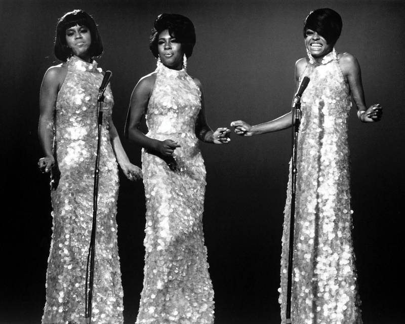 American Pop and Rhythm & Blues group the Supremes sing during an unspecified performance, mid to late 1960s. Pictured are, from left, Cindy Birdsong, Mary Wilson, and Diana Ross. (Photo by Silver Screen Collection/Getty Images)