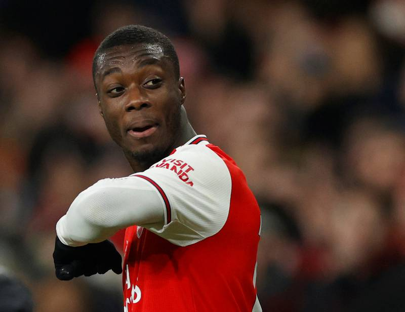 """Soccer Football - Premier League - Arsenal v Manchester United - Emirates Stadium, London, Britain - January 1, 2020   Arsenal's Nicolas Pepe gestures                     Action Images via Reuters/John Sibley    EDITORIAL USE ONLY. No use with unauthorized audio, video, data, fixture lists, club/league logos or """"live"""" services. Online in-match use limited to 75 images, no video emulation. No use in betting, games or single club/league/player publications.  Please contact your account representative for further details."""