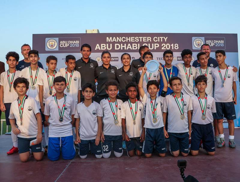 Abu Dhabi, March 24, 2018.  Manchester City Abu Dhabi Cup for juniors.  AUH Club takes the U-14 plate.Victor Besa / The NationalSportsReporter:  Amith Passela
