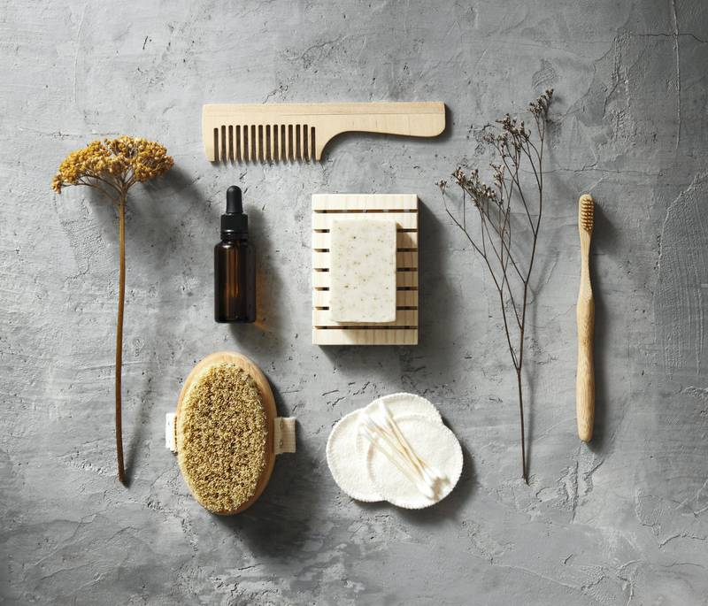 Eco friendly self-care kit: body brush, cotton pads and swabs, toothbrush, hair comb, soap and serum