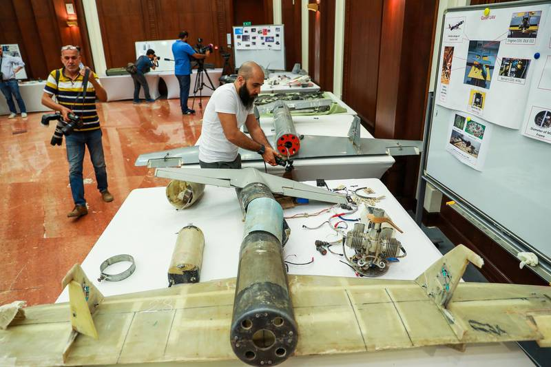 Abu Dhabi, U.A.E., June 19, 2018. Allegedly used Iranian weapons that have been used in Yemen.  Media capuring images of the drones on display.Victor Besa / The NationalSection:  NARequested by:   Jake Badger