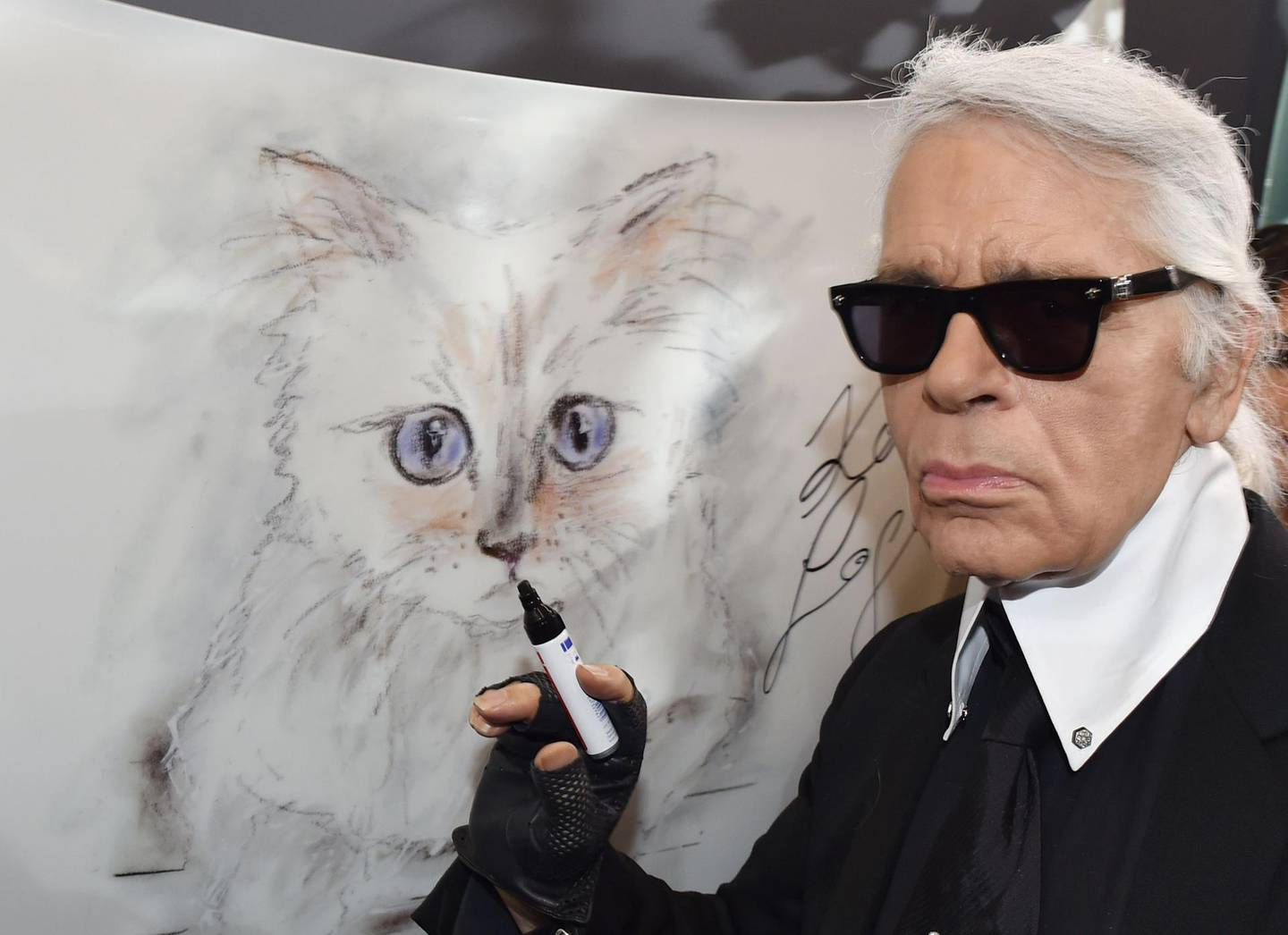 """(FILES) In this file photo taken on February 3, 2015 German fashion designer, artist, and photographer Karl Lagerfeld poses next to a painting of his cat """"Choupette"""" during the inauguration of the show """"Corsa Karl and Choupette"""" at the Palazzo Italia in Berlin.  German fashion designer Karl Lagerfeld has died at the age of 85, it was announced on February 19, 2019. / AFP / DPA / Jens KALAENE"""
