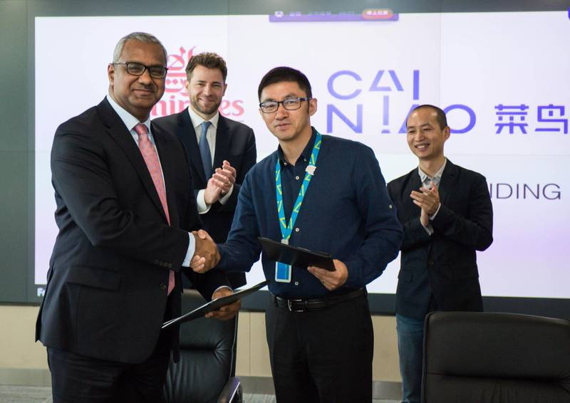 Nabil Sultan, Emirates Divisional Senior Vice President, Cargo with Xiaodong Guan, General Manager of Cainiao Global Business at the MoU signing. Courtesy Emirates