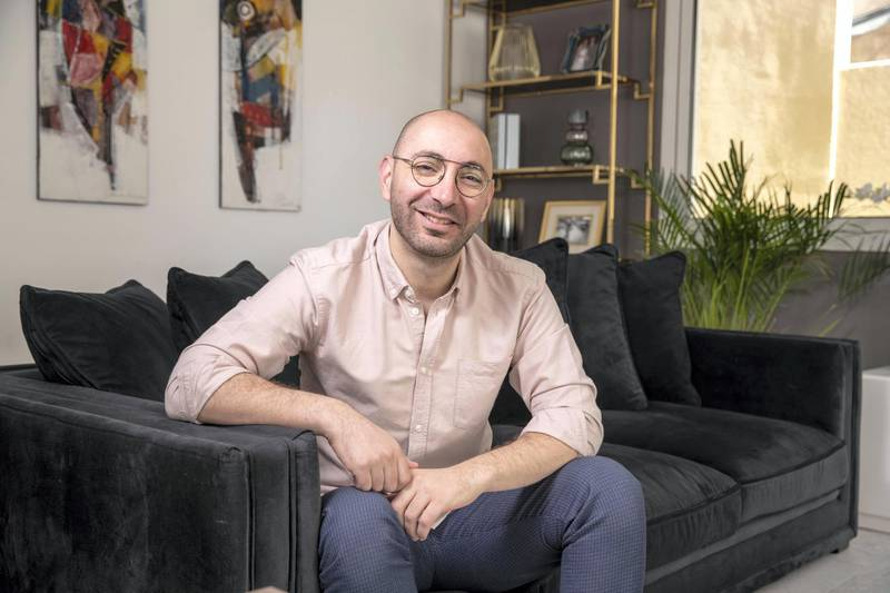 DUBAI UNITED ARAB EMIRATES. 21 DECEMBER 2020. Hosam Arab, co-founder and CEO of buy now, pay later e-commerce website Tabby, for a Generation Start-up feature. (Photo: Antonie Robertson/The National) Journalist: Felicity Glover. Section: Business.
