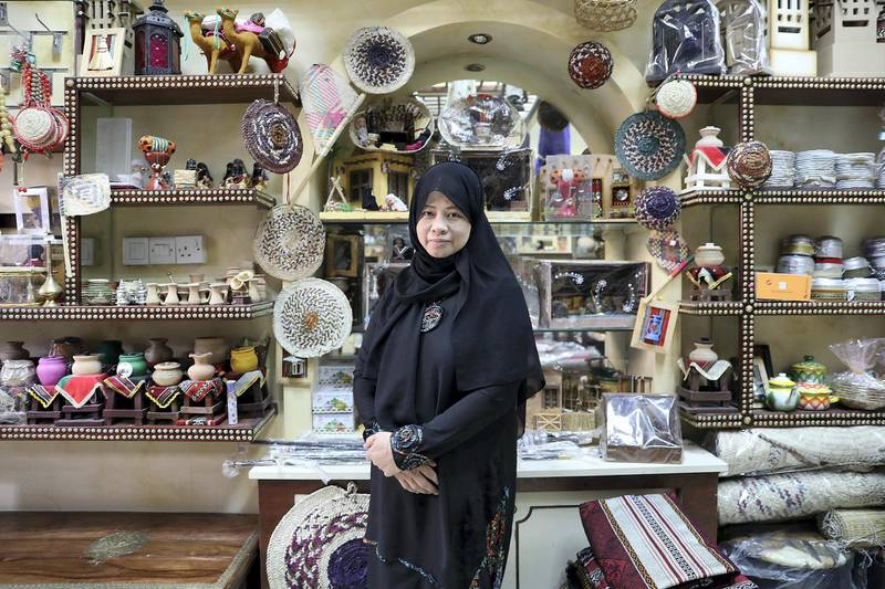 RAK , UNITED ARAB EMIRATES , MAY 16 – 2018 :- Charlene Alfonzo working at the craft shop next to Asayel Café in Ras Al Khaimah.  ( Pawan Singh / The National )  For News. Story by Anna