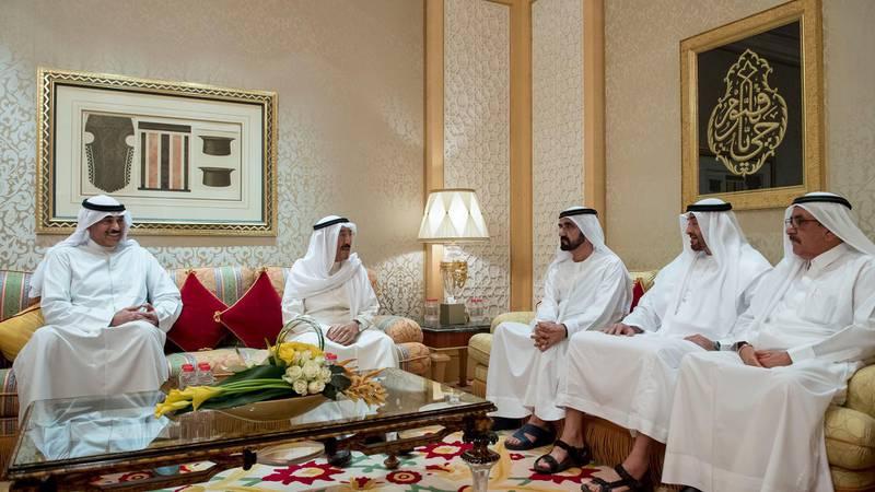 DUBAI, UNITED ARAB EMIRATES - June 07, 2017:  HH Sheikh Mohamed bin Zayed Al Nahyan, Crown Prince of Abu Dhabi and Deputy Supreme Commander of the UAE Armed Forces (2nd R) and H Sheikh Mohamed bin Rashid Al Maktoum, Vice-President, Prime Minister of the UAE, Ruler of Dubai and Minister of Defence (3rd R) meets with HH Sheikh Sabah Al Ahmad Al Jaber Al Sabah, Emir of Kuwait (4th R), at Zabeel Palace. Seen with HH Sheikh Hamdan bin Rashid Al Maktoum, Deputy Ruler of Dubai and UAE Minister of Finance (R).  ( Rashed Al Mansoori / Crown Prince Court - Abu Dhabi ) --- *** Local Caption ***  20170607RMC04_4891.jpg