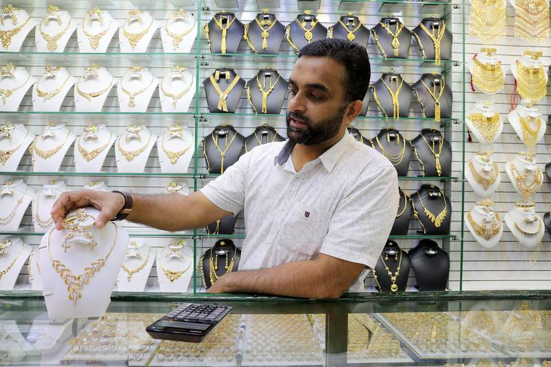 DUBAI , UNITED ARAB EMIRATES , Mar 10 – 2020 :- Mohammed Iqbal, Sales Manager during the interview at the Darya jewellery shop in Dubai Gold Souk in Deira Dubai. ( Pawan Singh / The National ) For News/Online Story by Kelly