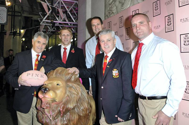 """LONDON, ENGLAND - OCTOBER 30:  Martin Bayfield, Lewis Moody, Warren Gatland, Andy Irvine and Phill Vickery attend  the opening of The Pink Lion as Thomas Pink launches the new Lions Collection for """"The British and Irish Lions"""", Thomas Pink is the official outfitter for The Lions at Pink Lion on October 30, 2012 in London, England.  (Photo by Ben Pruchnie/Getty Images for Thomas Pink)"""