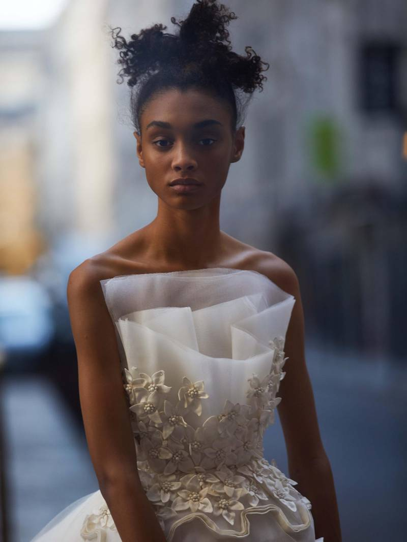 through the lens: Photography   Chantelle Dosser fashion director   Sarah MaiseyImperial Lilies off-white belted dress with a tulip-shaped skirt with organza embroidery and a tulle bust with organza lilies, Azzi & Osta Haute Couture