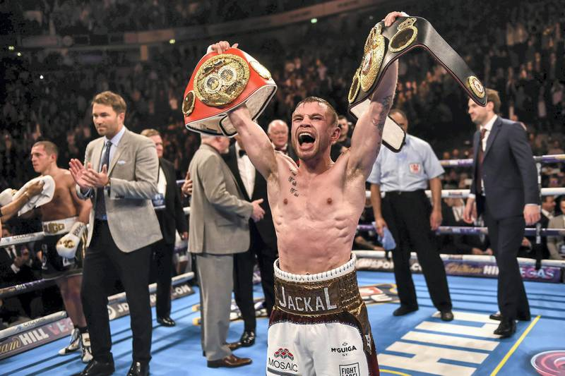 27 February 2016; Carl Frampton celebrates after defeating Scott Quigg by points decision in their IBF & WBA Super-Bantamweight World Unification Title Fight. Manchester Arena, Manchester, England. Picture credit: Ramsey Cardy / SPORTSFILE (Photo by Sportsfile/Corbis/Sportsfile via Getty Images)