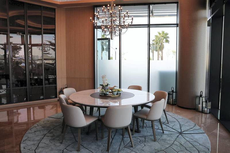 DUBAI, UNITED ARAB EMIRATES , December 24 – 2020 :-  Private dinning area at The Restaurant at the Address Beach Resort near Jumeirah Beach Residences in Dubai. ( Pawan Singh / The National ) For Lifestyle. Story by Janice