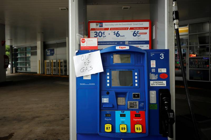 An Exxon station is seen out of gas after a cyberattack crippled the biggest fuel pipeline in the country, run by Colonial Pipeline, in Washington, U.S., May 15, 2021. REUTERS/Yuri Gripas