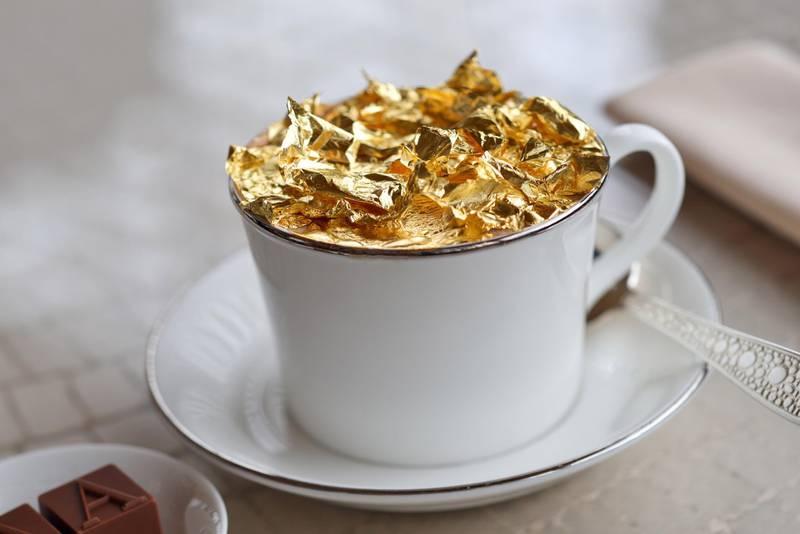 Armani Lounge - Gold  flake Cappuccino. Courtesy of Armani Hotels *** Local Caption ***  Armani Lounge - Gold Cappuccino (1).JPG