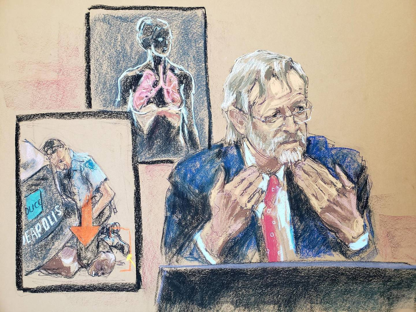 Pulmonologist Dr. Martin Tobin testifies on the ninth day of the trial of former Minneapolis police officer Derek Chauvin for second-degree murder, third-degree murder and second-degree manslaughter in the death of George Floyd in Minneapolis, Minnesota, U.S. April 8, 2021 in this courtroom sketch. REUTERS/Jane Rosenberg