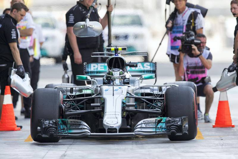 Abu Dhabi, United Arab Emirates, November 24, 2017:    Valtteri Bottas of Finland and Mercedes GP during practise for the Abu Dhabi Formula One Grand Prix at Yas Marina Circuit in Abu Dhabi on November 24, 2017. Christopher Pike / The National  Reporter: Graham Caygill Section: Sport