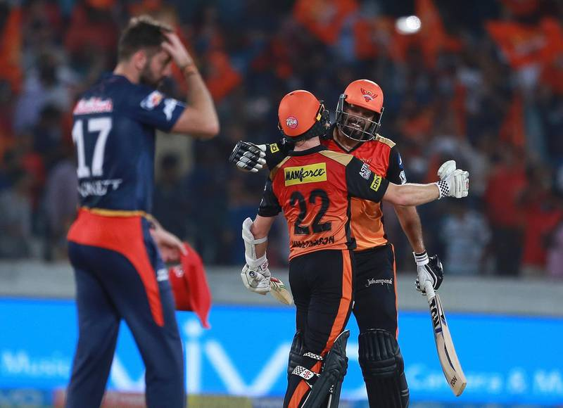 Sunrisers Hyderabad player Yusuf Pathan, right, and Kane Williamson celebrates after winning the match during VIVO IPL cricket T20 match against Delhi Daredevils in Hyderabad, India, Saturday, May 5, 2018. (AP Photo/Mahesh Kumar A.)