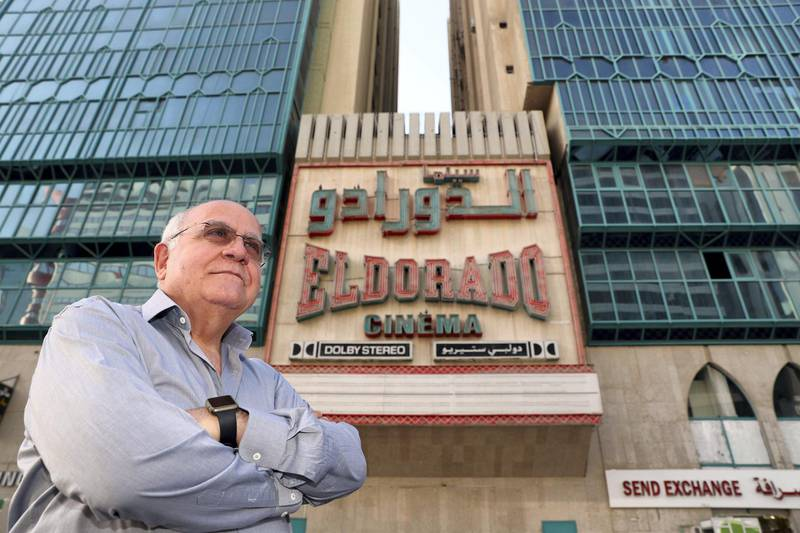 Abu Dhabi, United Arab Emirates - November 20th, 2017: Freddy Lama outside ElDorado Cinema. The cinema is closing after 47 years, Freddy is one of the men who built the original cinema in 1970. Monday, November 20th, 2017 in Electra Street, Abu Dhabi. Chris Whiteoak / The National