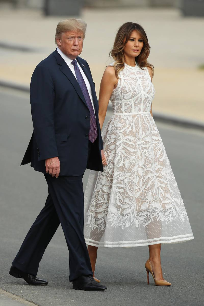BRUSSELS, BELGIUM - JULY 11:  U.S. President Donald Trump and U.S. First Lady Melania Trump attend the evening reception and dinner at the 2018 NATO Summit on July 11, 2018 in Brussels, Belgium. Leaders from NATO member and partner states are meeting for a two-day summit, which is being overshadowed by strong demands by U.S. President Trump for most NATO member countries to spend more on defense.  (Photo by Sean Gallup/Getty Images)