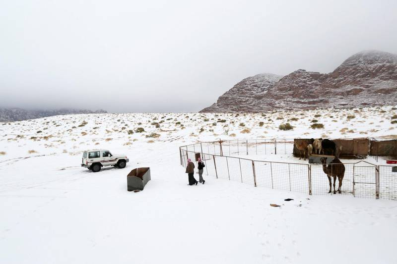 Saudis walk over snow after a heavy snowstorm in the desert near Tabuk, northwest of Riyadh February 21, 2015. REUTERS/Mohamed Alhwaity (SAUDI ARABIA - Tags: ENVIRONMENT SOCIETY)