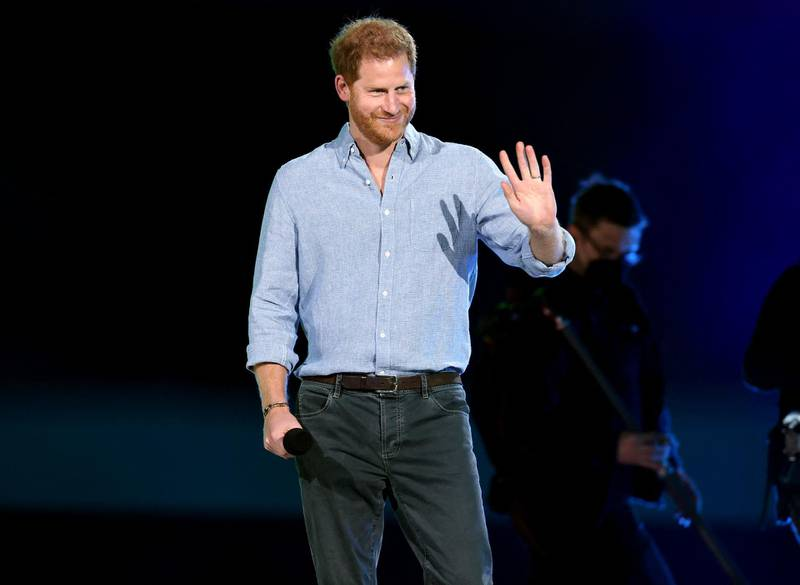 INGLEWOOD, CALIFORNIA: In this image released on May 2, Prince Harry, The Duke of Sussex, speaks onstage during Global Citizen VAX LIVE: The Concert To Reunite The World at SoFi Stadium in Inglewood, California. Global Citizen VAX LIVE: The Concert To Reunite The World will be broadcast on May 8, 2021.   Kevin Winter/Getty Images for Global Citizen VAX LIVE/AFP (Photo by KEVIN WINTER / GETTY IMAGES NORTH AMERICA / Getty Images via AFP)