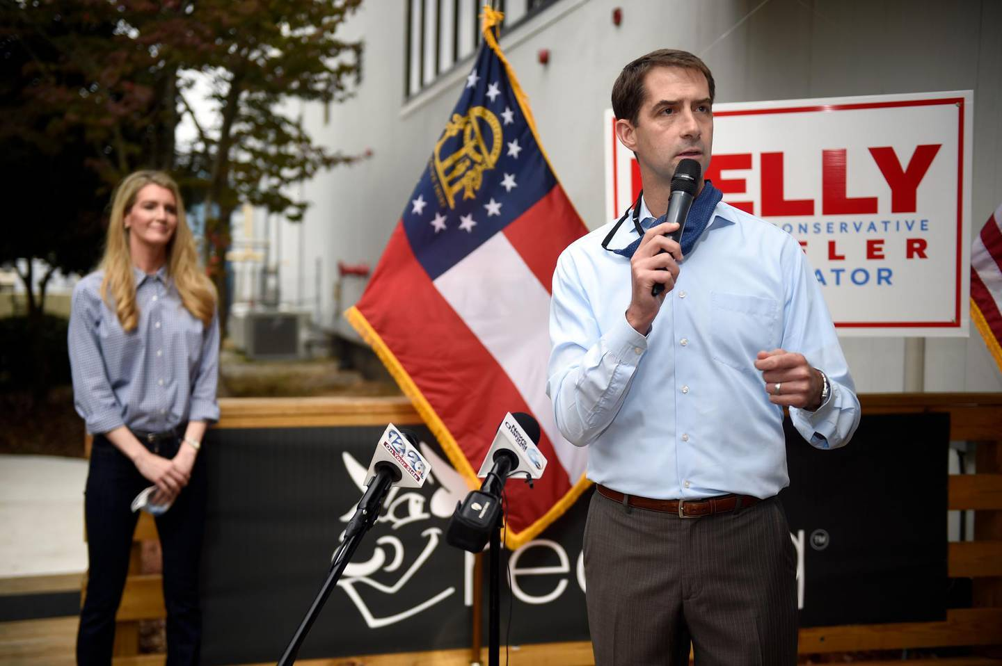 Sen. Tom Cotton, R-Ark., right, speaks during a campaign event for Sen. Kelly Loeffler, R-Ga., left, at the Recteq facility in Evans, Ga., Monday, Oct. 12, 2020. (Michael Holahan/The Augusta Chronicle via AP)