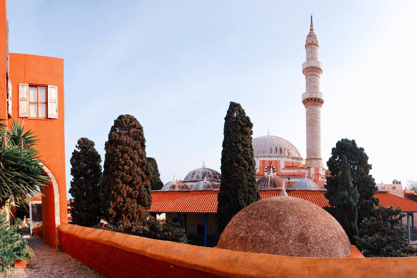 View of the Mosque of Süleyman. Rhodes cityscape, the island of Rhodes,  the Dodecanese, Greece.