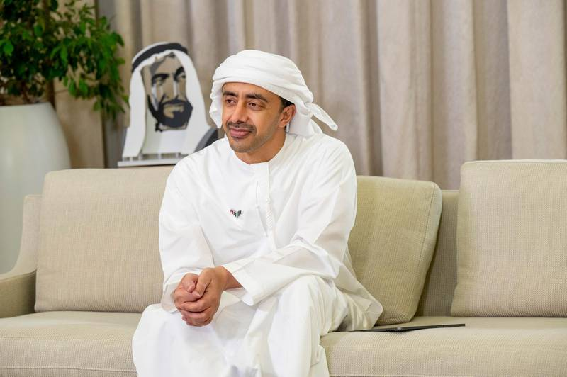 """ABU DHABI, UNITED ARAB EMIRATES - May 10, 2021: HH Sheikh Abdullah bin Zayed Al Nahyan, UAE Minister of Foreign Affairs and International Cooperation, attends an online lecture titled """"Learning and Discovery for Life: Unlocking our Future Potential"""", during the online series of Majlis Mohamed bin Zayed.  ( Mohamed Al Hammadi / Ministry of Presidential Affairs ) ---"""