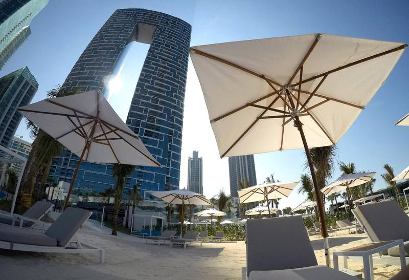 DUBAI, UNITED ARAB EMIRATES , December 24 – 2020 :-  View of the private beach area at the Address Beach Resort near Jumeirah Beach Residences in Dubai. ( Pawan Singh / The National ) For Lifestyle. Story by Janice