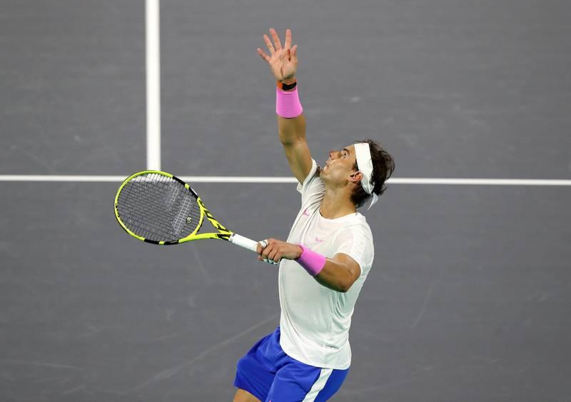 Abu Dhabi, United Arab Emirates - Reporter: Jon Turner: Rafael Nadal serves during the semi final between Rafael Nadal v Karen Khachanov at the Mubadala World Tennis Championship. Friday, December 20th, 2019. Zayed Sports City, Abu Dhabi. Chris Whiteoak / The National