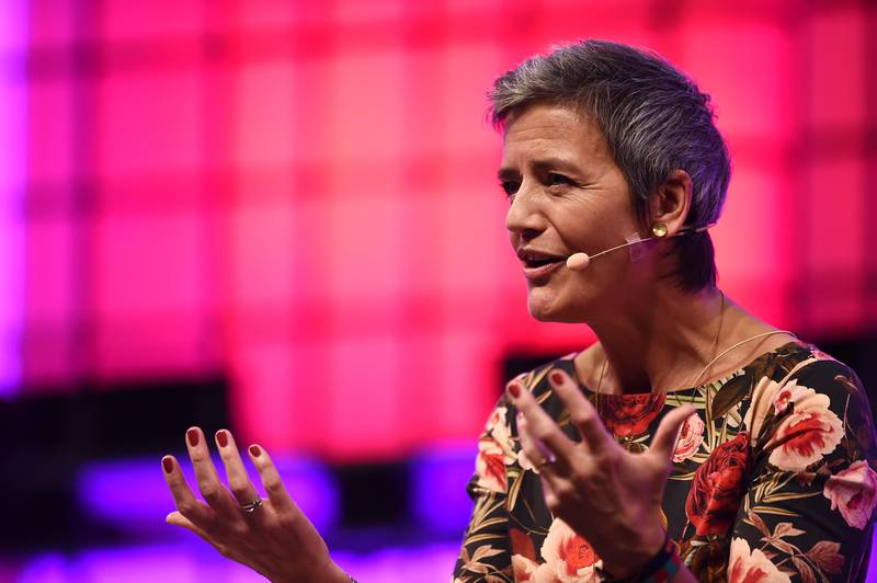 6 November 2017; Margrethe Vestager, European Commissioner for Competition, European Commission, on centre stage during the Web Summit 2017 Opening Cermony at Altice Arena in Lisbon. Photo by Seb Daly/Web Summit via Sportsfile