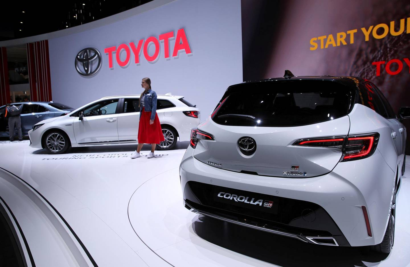 FILE PHOTO: The new Toyota Corolla is displayed at the 89th Geneva International Motor Show in Geneva, Switzerland March 5, 2019. REUTERS/Denis Balibouse/File Photo  GLOBAL BUSINESS WEEK AHEAD