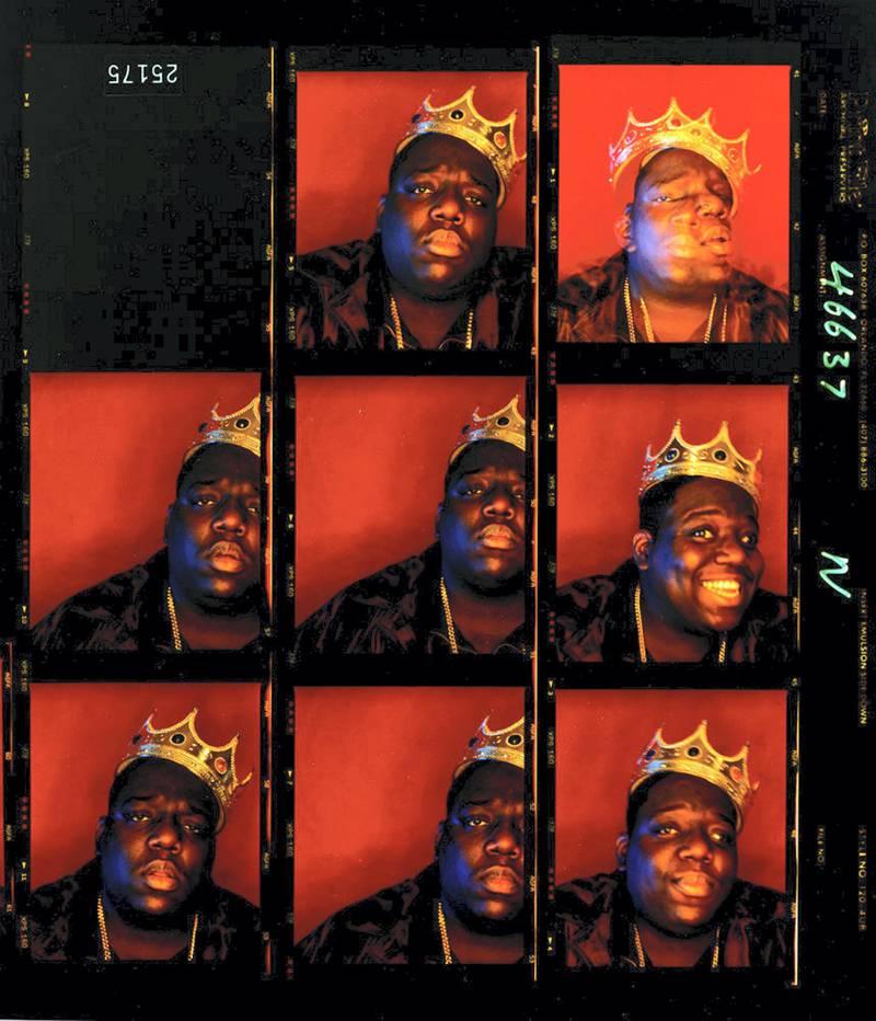 "Barron Claiborne - Biggie Smalls """"King Of New York"""" - Wall Street, New York, 1997. A Visual History of Hip-Hop exhibition in Manarat Saadiyat. photo: Nermine Kashef"