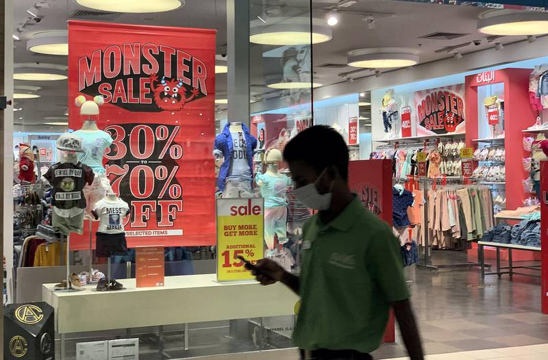 DUBAI, UNITED ARAB EMIRATES , July 12 – 2020 :- Dubai Summer Surprise mega sale offers in the stores at Ibn Battuta Mall in Dubai. DSS started on 9th July until 29th August.  (Pawan Singh / The National) For News/Standalone/Online/Stock.
