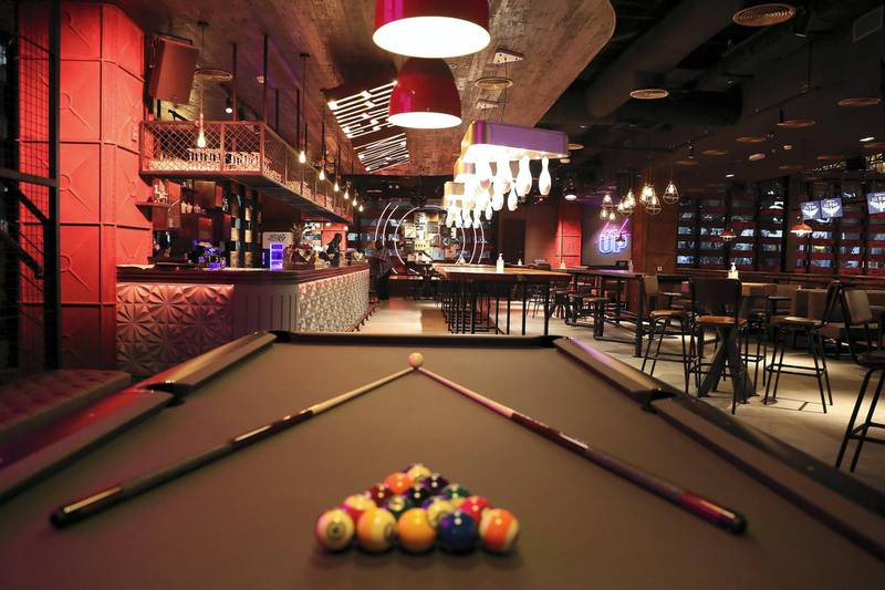 DUBAI, UNITED ARAB EMIRATES , September 27 – 2020 :- View of the pool table at the Brass Monkey, new dining and entertainment destination on the Bluewaters Island in Dubai.  (Pawan Singh / The National) For Lifestyle/Online/Instagram. Story by Janice Rodrigues