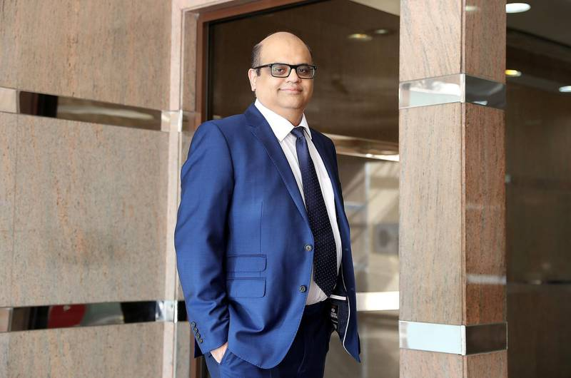 DUBAI , UNITED ARAB EMIRATES , JAN 14 – 2018 :- Rajeev Samtani , co – founder and managing partner of Xcel Accounting at his office in Dubai National Insurance Building on Sheikh Zayed Road in Dubai.  (Pawan Singh / The National) For Business. Story by Gillian Duncan