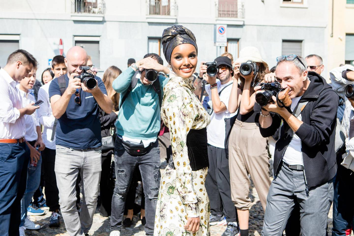 Halima Aden seen outside the Etro show during Milan Fashion Week Spring/Summer 2020 on September 20, 2019 in Milan, Italy. (Photo by Mairo Cinquetti/NurPhoto via Getty Images)