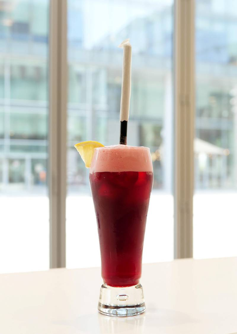 Hibiscus drink at The Name concept store and a resto café at Dubai Design District in Dubai on June 23,2021. Pawan Singh / The National. Story by Janice Rodrigues