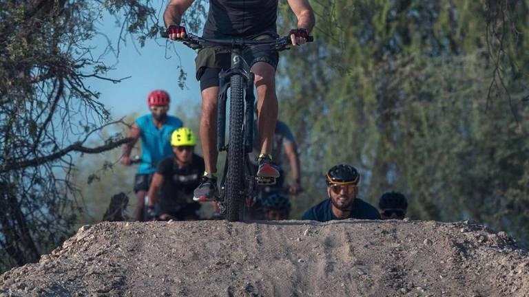 An image that illustrates this article Sheikh Hamdan enjoys mountain biking in Mushrif National Park